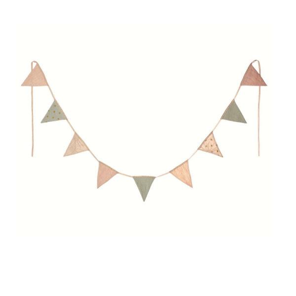 Guirnalda de banderines rosa – Maileg – triangulos de tela – Liderlamp