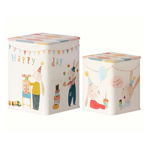 Happy Day boxes – Maileg – Decoracion infantil – cajas metal – cumpleanos – Liderlamp