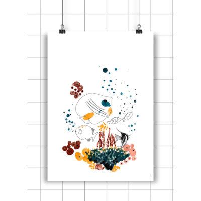 Lamina Arrecife - Amayadeeme - ilustracion - decoracion infantil - Liderlamp