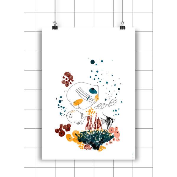 Lamina Arrecife – Amayadeeme – ilustracion – decoracion infantil – Liderlamp