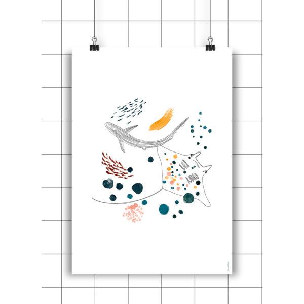 Lamina Mantarraya & Shark - Amayadeeme - ilustracion - decoracion infantil - Liderlamp
