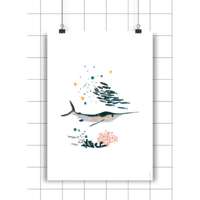 Lamina Robbie Swordfish - Amayadeeme - ilustracion - decoracion infantil - Liderlamp