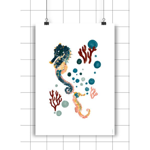 Lamina Seahorses Coral & Bubbles – Amayadeeme – ilustracion – decoracion infantil – Liderlamp