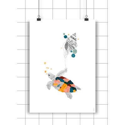 Lamina Silvia y caracola - Amayadeeme - ilustracion - decoracion infantil - Liderlamp