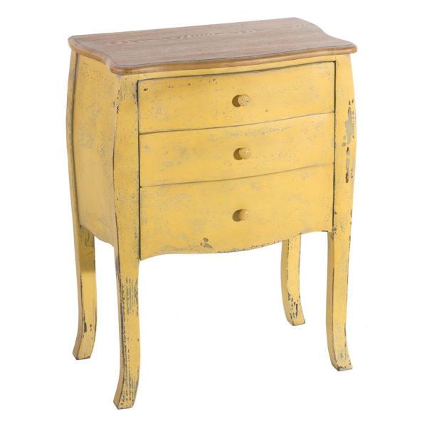 Mesita auxiliar – 3 cajones – mueble decapado – wabi-sabi – Liderlamp (3)