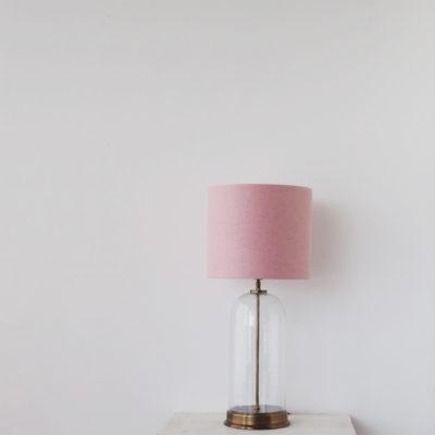 Sobremesa Safo - pantalla textil - urna de cristal - luz auxiliar - Liderlamp