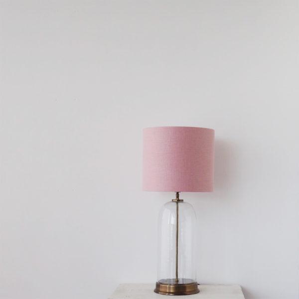 Sobremesa Safo – pantalla textil – urna de cristal – luz auxiliar – Liderlamp