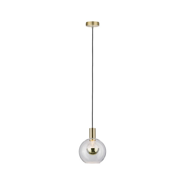 Colgante Kot – Bola cristal transparente – Lampara laton cepillado – Liderlamp (1)