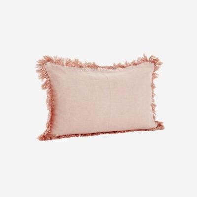 Funda de cojin con flecos - tejido lino - rosa - decoracion textil - Liderlamp (2)
