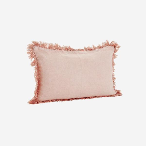 Funda de cojin con flecos – tejido lino – rosa – decoracion textil – Liderlamp (2)