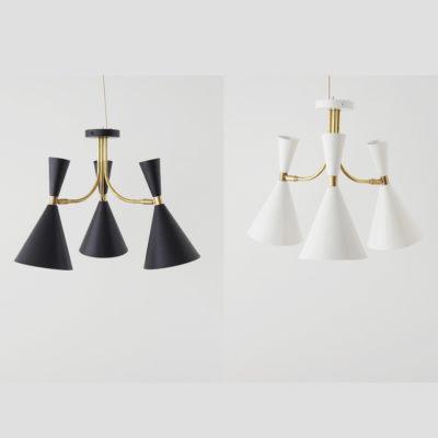 Plafon Belen - Blanco y Negro - New Mid Century - Lampara de techo - Liderlamp (2)