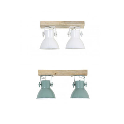 Plafon Elay - 2 luces - Madera y metal -lampara de techo - aplique - Liderlamp (1)