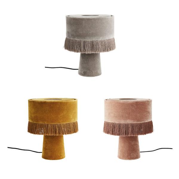 Sobremesa Mini Puce – lampara de mesa – terciopelo – flecos – Liderlamp (2)