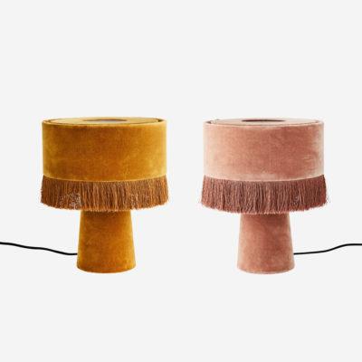 Sobremesa Mini Puce - lámpara de mesa - terciopelo - flecos