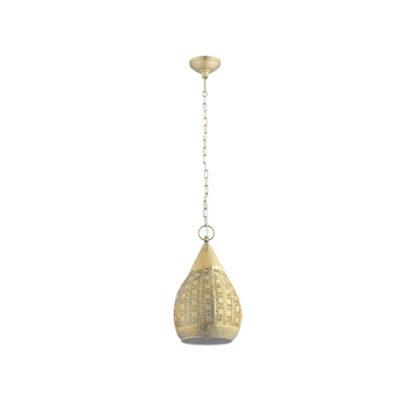 Colgante Mansura - Tendencia árabe - acero labrado - dorado - farol