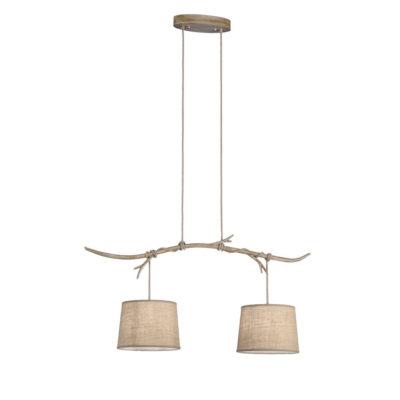Lampara Dafne - 2 luces - estilo rustico - natural chic - rama de madera - Liderlamp (2)