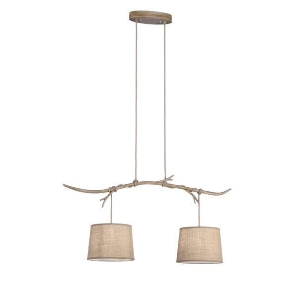 Lampara Dafne – 2 luces – estilo rustico – natural chic – rama de madera – Liderlamp (2)