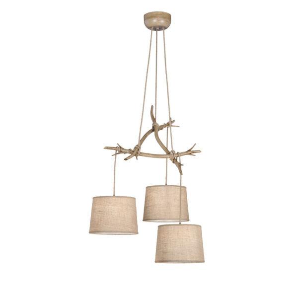 Lampara Dafne – 3 luces – estilo rustico – natural chic – rama de madera Liderlamp