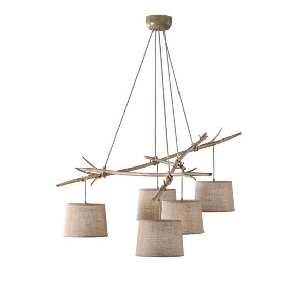 Lampara Dafne – 5 luces – estilo rustico – natural chic – rama de madera – Liderlamp