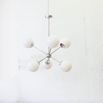 Lampara Helena - Mid Century - estilo retro - cristal opal - cromo - Liderlamp
