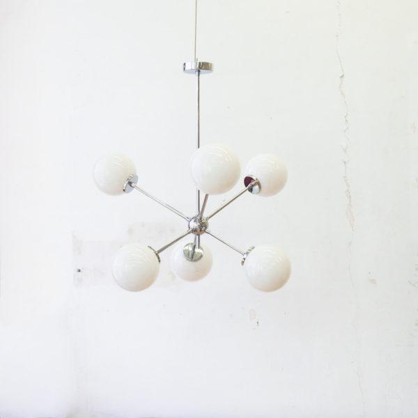 Lampara Helena – Mid Century – estilo retro – cristal opal – cromo – Liderlamp