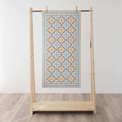 Alfombra vinilica - Gracia Azul Mostaza- decoracion - cocina - bano - geometria - Liderlamp