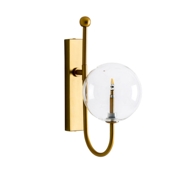 Aplique Bola – Hierro y cristal – Acabado dorado – Art Deco – Liderlamp (1)