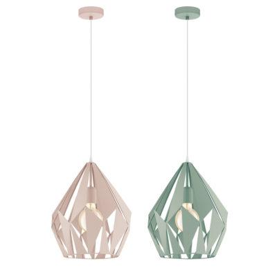 Colgante Goda - lampara retro - acero - blanco y rosa - EGLO - Liderlamp (2)