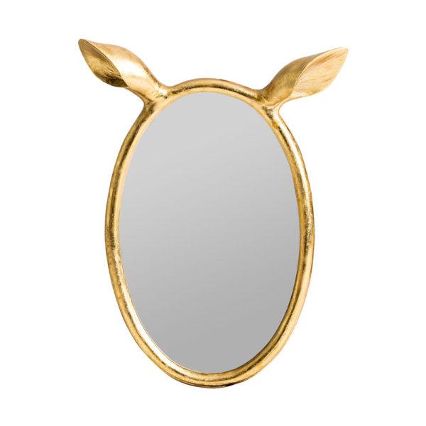 Espejo de orejas de ciervo – resina – acabado dorado – Liderlamp