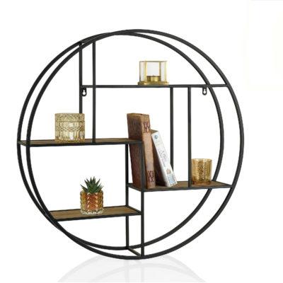 Estanteria Vitela - madera y metal - circulo - redonda - industrial - Liderlamp