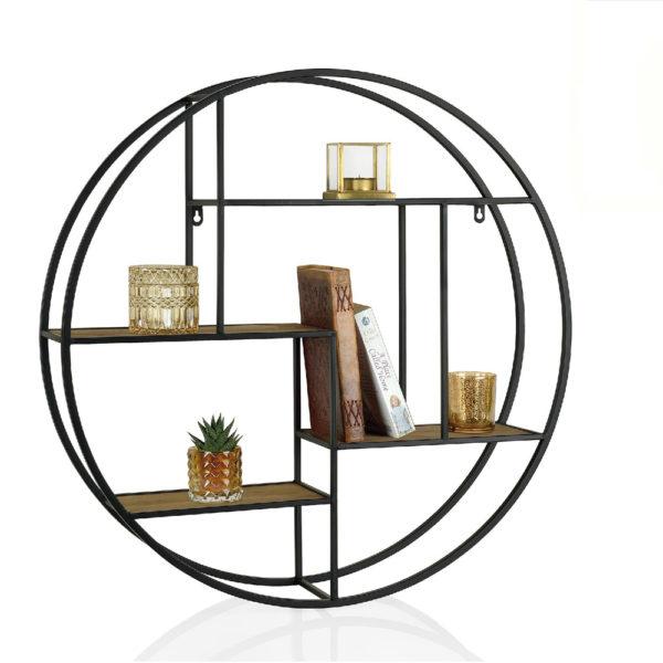 Estanteria Vitela – madera y metal – circulo – redonda – industrial – Liderlamp