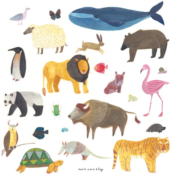 Lamina Animals – Marta Abad – Ilustraciones infantiles – habitacion ninos – Liderlamp