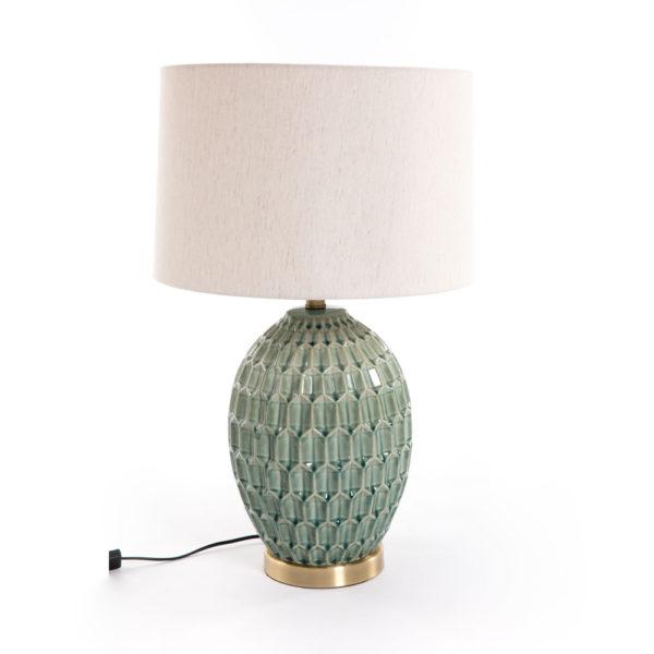 Sobremesa Akupara – ceramica relieve – pantalla textil – Gajisa – Liderlamp (1)