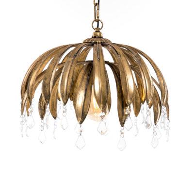 Colgante Latania - lámpara de palmera - hierro - oro envejecito - Gajisa