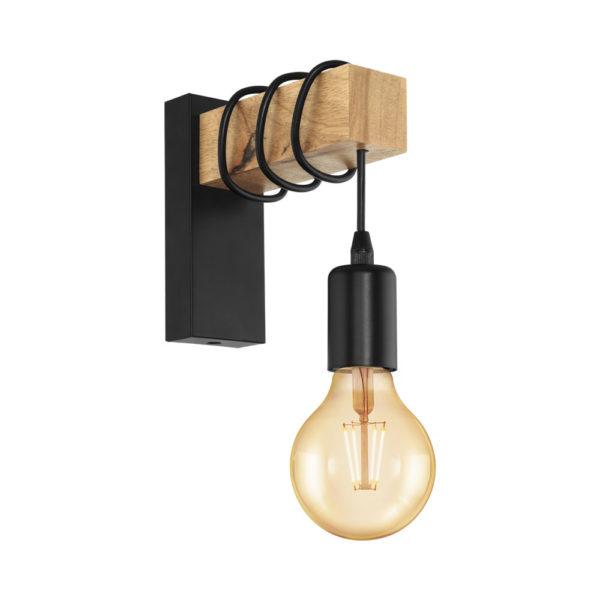 Aplique Morgan - madera - cable negro - bombilla colgante - EGLO - Liderlamp
