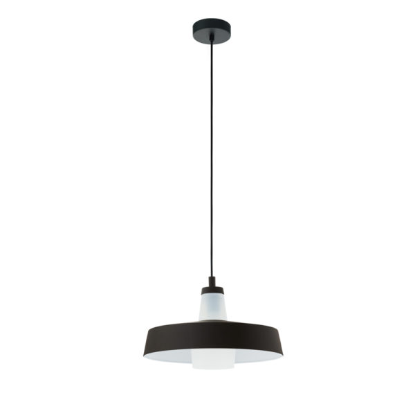 Colgante Alata - lampara de techo - metal negro - cristal blanco - EGLO - Liderlamp