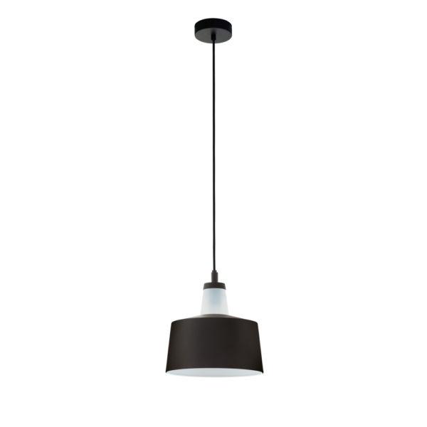 Colgante Olmo – lampara de techo – metal negro – cristal blanco – EGLO