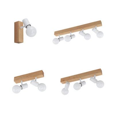 Focos Sicilia - base de madera - color blanco - apliques - techo - Eglo