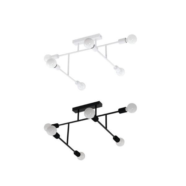 Lampara Marianne – 6 luces – Blanco y negro – Eglo – Metal – Liderlamp (2)