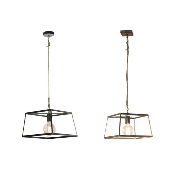 Colgante Sagres – metal y cristal – estano y negro – lampara de techo – Liderlamp (1)