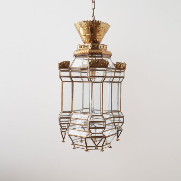 Colgante Tirsal – farol – cristal y metal forjado – estilo marroqui – Liderlamp (1)