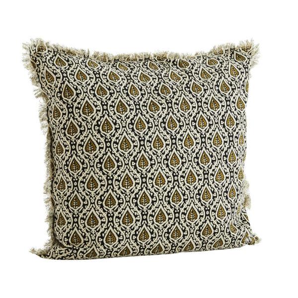 Funda de cojin floral oliva – madam slotz – decoracion textil – Liderlamp