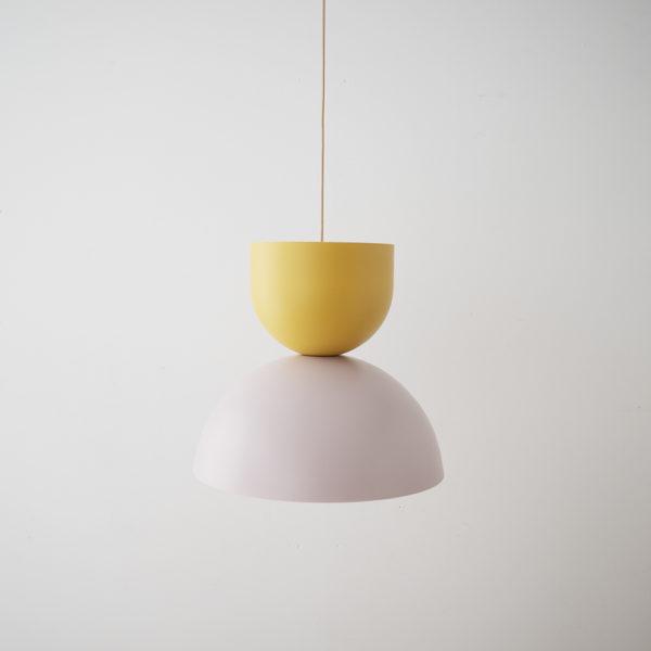 Colgante Due – mostaza, rosa y dorado – Aromas del campo – Liderlamp