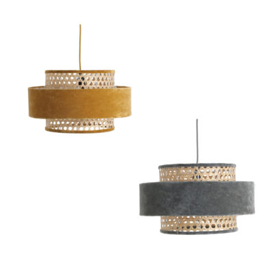 Colgante Lucca - terciopelo y ratan - reciclado - one world interiors - Liderlamp (1)