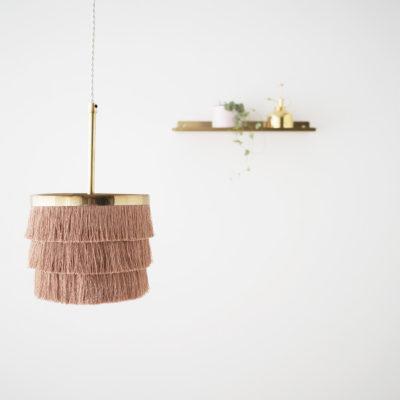 Colgante Zarzuela - lampara flecos - dorado - cable trenzado - Liv interiors - Liderlamp