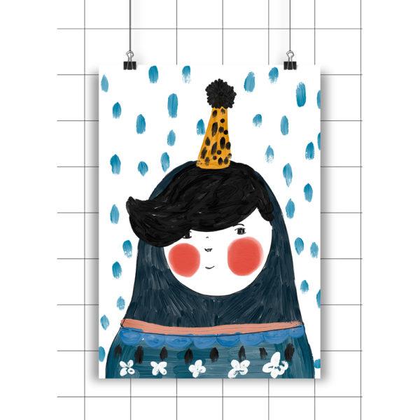 Lamina Blue Portrait – Amayadeeme – ilustracion – decoracion infantil – Liderlamp