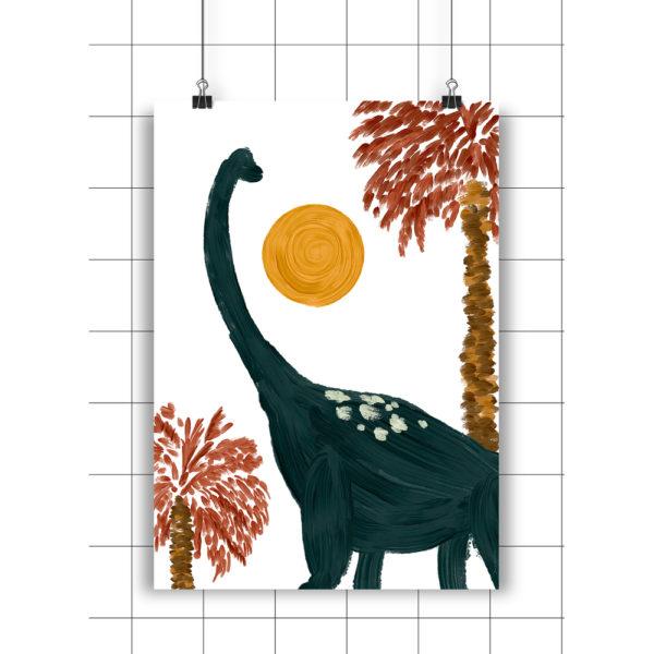 Lamina Brauiosaurio y Palmeras – amayadeeme – ilustracion – infantil – Liderlamp