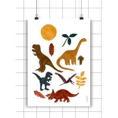 Lamina Dinos - amayadeeme - ilustracion - decoracion infantil Liderlamp
