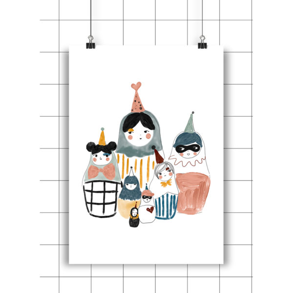 Lamina Matrioshkas – Amayadeeme – ilustracion – decoracion infantil – Liderlamp