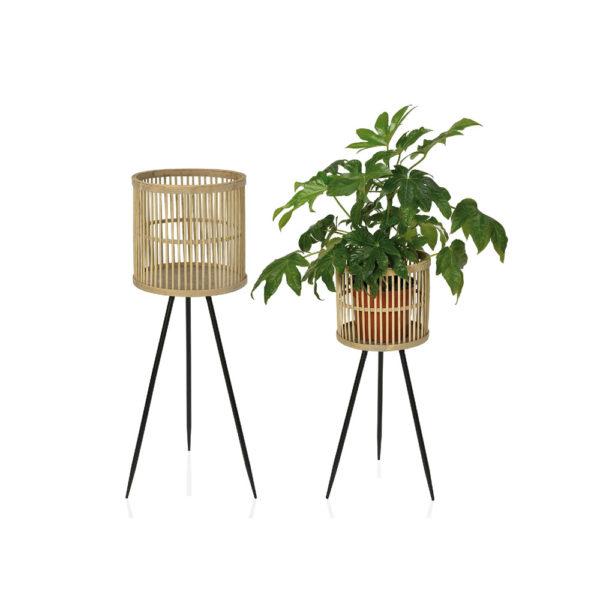 Macetero Bambu – metal – pie de maceta – urban jungle – Andrea House- Liderlamp